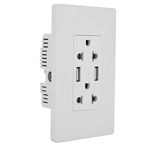 Receptáculo de pared USB de protección de sobrecarga de chip inteligente de 125 V, enchufe de pared de EE.(2 pieces)