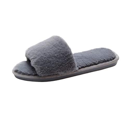 [ジーティアモ] ファー サンダル スリッパ ルーム シューズ ふわふわ あたたかい やわらかい 室内 履き シンプル 可愛い レディース オシャレ おしゃれ お洒落 あったか ふかふか もこもこ なめらか ソール 上品 ぺたんこ フラット らくちん グレ