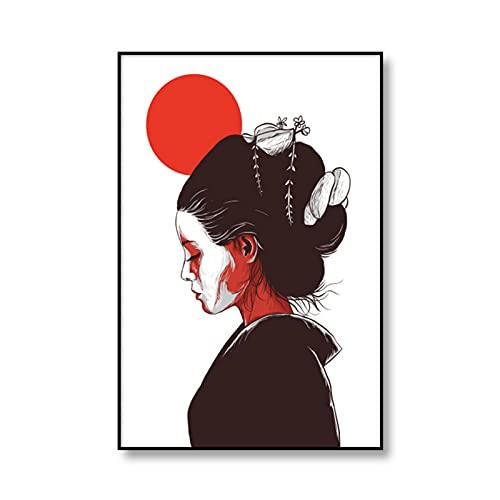 Shmjql Póster De Arte Japonés, Lienzo Impreso, Pintura De Geisha Japonesa, Cuadro Decorativo para Pared De Sala De Estar, 50X70Cmx1 Sin Marco
