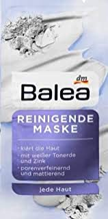 Balea Mask cleaning With white clay and zinc, , 4 Packs of 2 x 8ml (8 Applications)