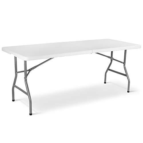 femor Gartentisch Klapptisch, 183 x 76 x 74cm, Buffettisch Klappbar, Campingtisch aus Kunststoffplatte & Stahlgestell, belastbar bis 150 kg, Partytisch mit Tragegriff, für Picknick Buffets, Weiß