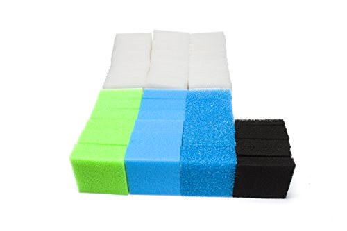 LTWHOME Feinfilter, Kohlefilter, Grobfilter, Medium und Polyfilter Serie Passend für Juwel Standard/BioFlow 6.0/ L (Packung mit 74)