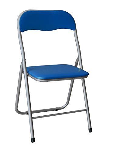 HERSIG - Silla Plegable | Silla Metalica Plegable - Color Azul y Gris
