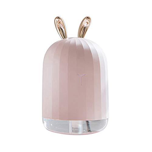 ラブリーウサギ鹿加湿器卓上オフィスUSBアロマおしゃれ超音波手入れ簡単コンパクトミニ静音(PINK)