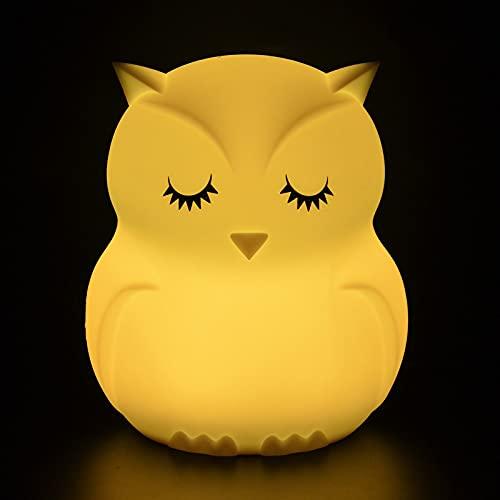 WYXC Luz Noche búho niños, luz Noche Silicona Recargable, lámpara Noche Control Remoto Sensor táctil, lámpara Noche Modo Cambio Color, para guardería, niños pequeños, niñas