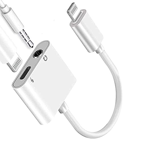 Apple MFi Certified Lightning to 3.5mm Headphones Dongle Jack Adapter for iPhone AKAVO 2 in 1 Headphone Adapter and Aux Audio Adapter + Charger Cable Splitter Compatible with iPhone 12 11 XS XR X 8 7