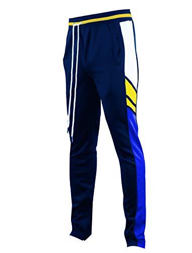 Screenshotbrand - Pantalones de chándal para hombre de estilo hip-hop, de ajuste delgado, con parte inferior atlética con cinta lateral -  Azul marino -  Small