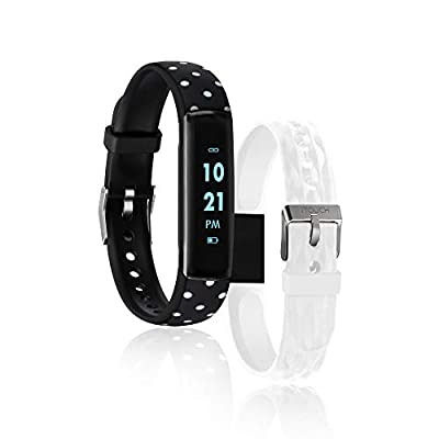 iTouch Slim Fitness Tracker with Heart Rate Monitor, Step Tracker, Calorie Tracker & Sleep Tracker. Waterproof Fitness Watch for Women & Men, Android & iOS, Black Polka/White Interchangeable Straps