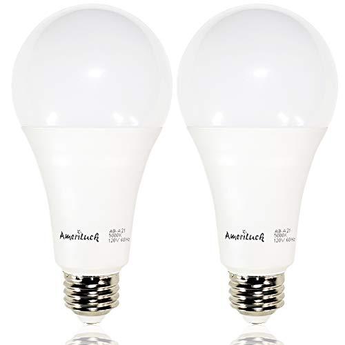 AmeriLuck 3-Way 50/100/150W Equiv. A21 LED Bulb 2200 Lumens Daylight 5000K (2 Pack)