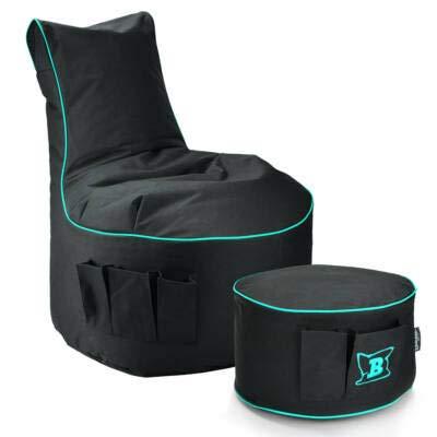 Maverick Gaming Set Sitzsack mit Sitzhocker/Fußbank Schwarz mit Keder Farben wählbar Beanbag mit Seitentaschen & Reißverschluss zum nachfüllen Playstation PS4 XBOX360 XboxOne Nintendo (Türkis)