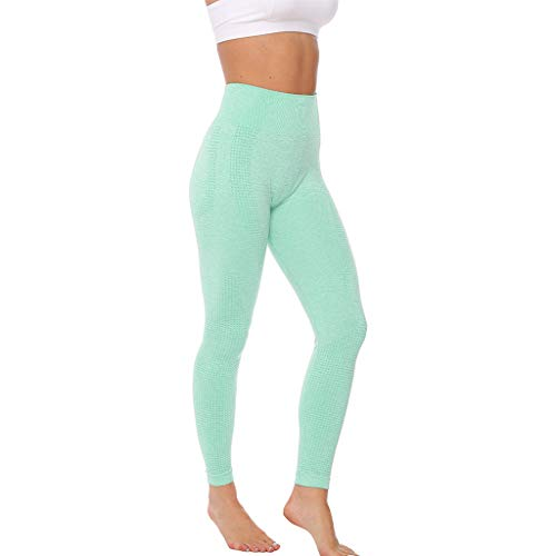 WOZOW Pantalon Pure Color Hip Lifting Seamless Elasticity Running Yoga Pants Gym Leggings Power Stretch Taille Haute Femmes en Cours D'exécution D'entraînement(Vert,M)