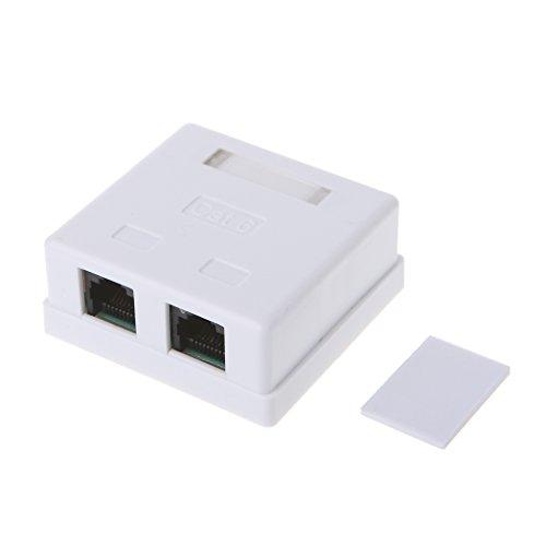 Caja de conexiones RJ45 CAT6, 2 puertos, cable de extensión de escritorio