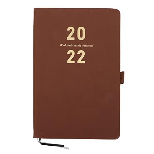 cabilock A5 2021-2022 Planificador Semanal Planificador Mensual 365 Días Planificador Diario Cuaderno Cubierta de Cuero para Suministros Escolares de Oficina en Casa