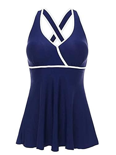 Traje de baño de una pieza para mujer, con cuello en V, sin espalda, elástico, sin mangas, cómodo, traje de baño de moda (color : blanco, tamaño: XL) WTZ012 (color: blanco, tamaño: XL)