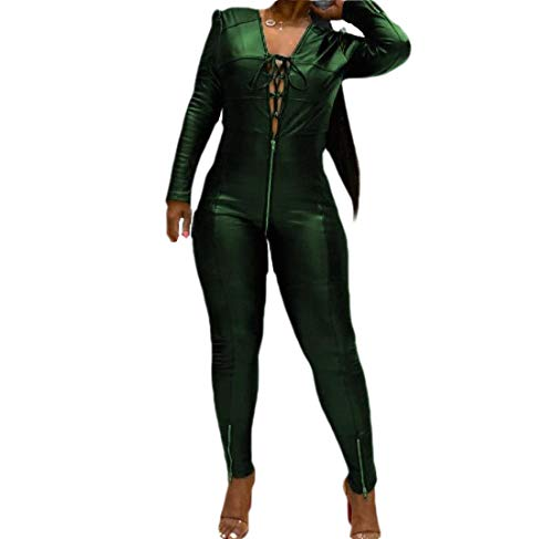 CuteRose Women Zip-Front Strappy Faux Long Sleeve Slim Fitted Playsuit Green XS