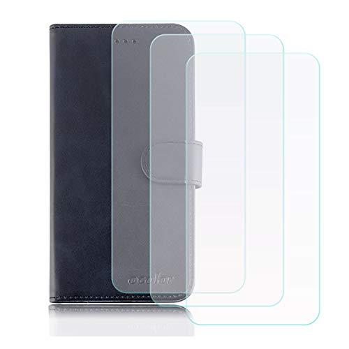 YZKJ Cover für Leagoo T5c Hülle, Flip PU Ledertasche Handyhülle Wallet Tasche Schutzhülle Hülle mit Card Slot & Ständer + [3 Stück] Panzerglas Schutzfolie für Leagoo T5c (5.5