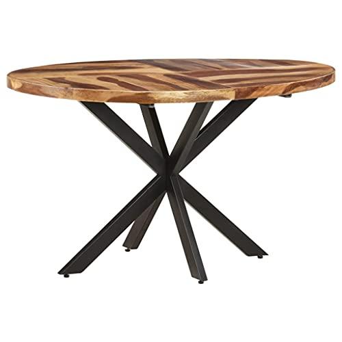 vidaXL Madera Acacia con Acabado Sheesham Mesa de Comedor Salón Sala de Estar Muebles Mobiliario Soporte Exterior Cocina Duradera Estable 140x80x75 cm