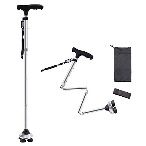 BigAlex Folding Walking Cane with LED LightPivoting Quad BaseAdjustable Walking Stick with Carrying Bag for Man/Woman MG Alloy BaseSilver