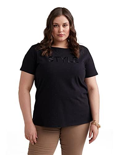 Fiorella Rubino : Camiseta con Cristales y Texto Bordado Negro XS Mujer (Plus Size)