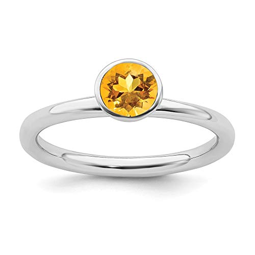 925 Sterling Silver Bezel Polished Rhodium plated Stackable Expressions High 5mm November Crystal Ring Size J 1/2 Jewelry Gifts for Women