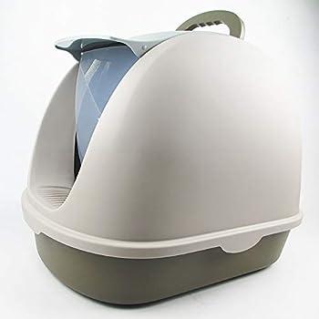 ZUEN Toilette pour Chat Grande Boîte À Litière Robuste Type Fermé Ménage Amovible Et Lavable De La Santé Environnementale,Gray
