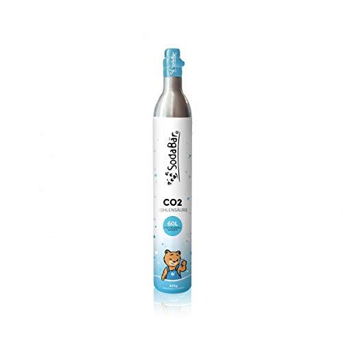 SodaBär© Der CO2-Zylinder für alle Geräte | 425g (60 l) | Premiumfüllung mit Kohlensäure von Linde Größe 1. Standard/Universal
