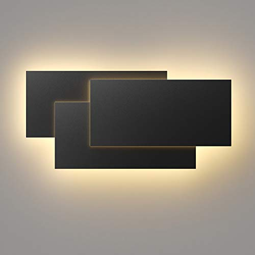 Klighten 36W Lámpara de pared Interior Moderna Apliques de Pared Blanco Cálido 3000K perfecto para Salon Dormitorio Sala Pasillo Escalera (Negro)