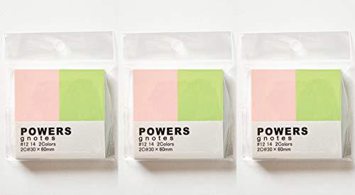 プリントインフォームジャパン gnotes 粘着力と糊面積アップ ふせん紙「POWERS」2C@30×60mm 【3個セット】 (パステルピンク、パステルグリーン)