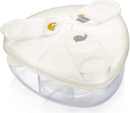 MAM Dispensador de leche en polvo, caja para facilitar el llenado de biberones, dosificador de leche en polvo, tiene capacidad para hasta 3 porciones, 0 meses, foca y perezoso.