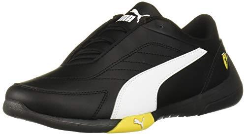 PUMA Unisex-Kid's Ferrari Kart CAT Sneaker, Black White-Blazing Yellow, 7 M US Big Kid