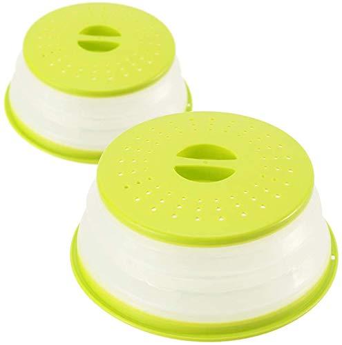 Herbests Juego de 2 tapas plegables para microondas y microondas, tapa antisalpicaduras con colador para frutas y verduras, evita salpicaduras, también como cesta de filtro de frutas, color verde