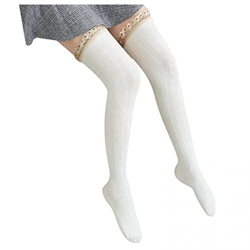 Twist-Strick - Calcetines altos para mujer con punta, cálidos de invierno, por encima de la rodilla, largos, de punto, para niñas, leggings, gruesos, resistentes al frío y al viento, Blanco, F