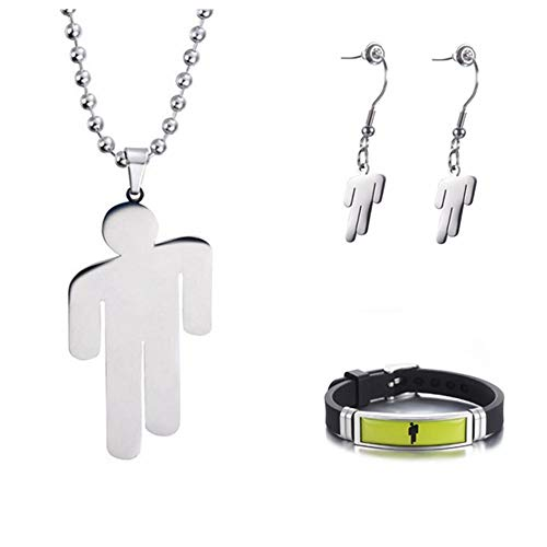 TAGOMEI Stainless Steel Pendant Necklace Round Strand Chain Square Pendant Necklace Fans Gifts