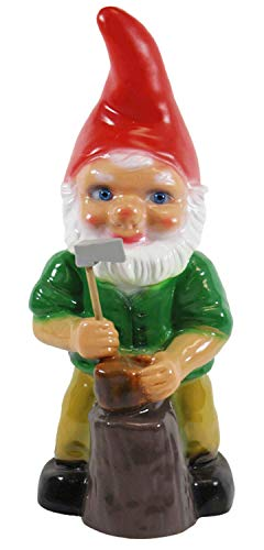 Gartenzwerg Deko Garten Figur Zwerg Holzhacker stehend mit Axt in Hand aus Kunststoff H 33 cm