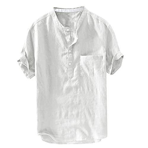 Camicia da uomo a maniche corte in lino, tinta unita, stile retrò, con bottoni bianco L