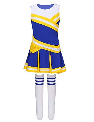 TiaoBug Disfraz Animadora Niñas Musical Uniforme Porrista Colegio Fútbol Tenis Baloncesto Maillot de Danza Ballet Gimnasia Rítmica Bailarina Amarillo Azul 150cm