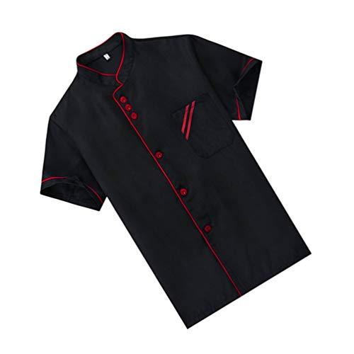 Cabilock Kochuniform mit kurzen Ärmeln, Kochmantel für Küche, Arbeitsplatz, Restaurant, Uniform, Kleidung, Größe XXXL