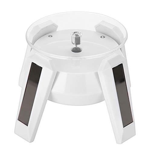 Soporte giratorio con energía solar, soporte giratorio solar de 360 grados Reloj giratorio para teléfono Soporte de montaje de exhibición de joyería con luz LED(Blanco)