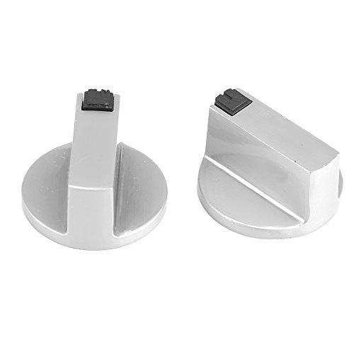 Fdit 1 Paar Gasherd Knöpfe 6mm Zink Legierung Edelstahl Runde Home Küche Herd Backofen Cooktop Metallschalter Steuerung