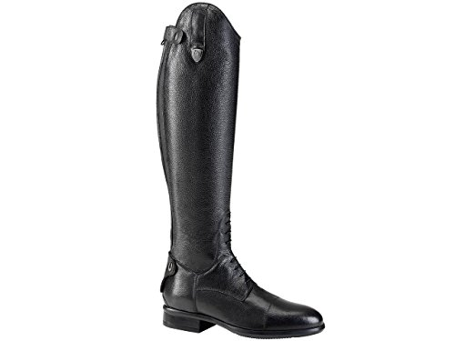 Tattini Bretonische Reitstiefel, geschnürt, genarbtes Leder, Größe XS, Schwarz - Schwarz - Größe: 39 1/3 EU