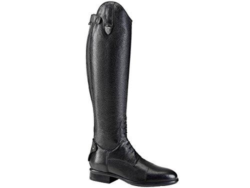 Tattini Bretonische Reitstiefel, genarbtes Leder, Größe XS, Wadengröße, Schwarz - Schwarz  - Größe: 41 EU