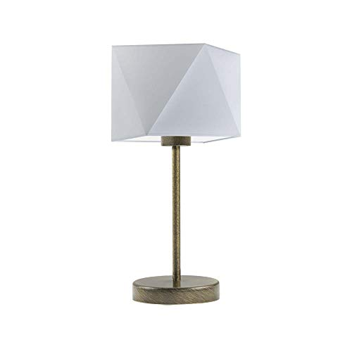 WUHU - Lámpara de noche con pantalla de lámpara, color gris claro y dorado envejecido