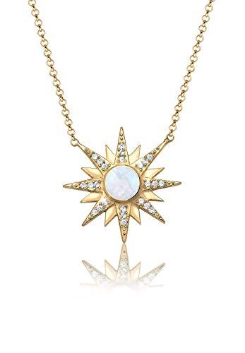 Elli PREMIUM Halskette Damen Sonne mit Howlith Edelstein und Swarovski® Kristalle in 925 Sterling Silber