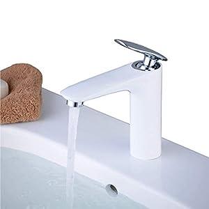 beelee bl6609W alta calidad baño sola palanca pintura blanco único agujero momobloc baño–grifo para fregadero, mezclador de baño fregadero grifos