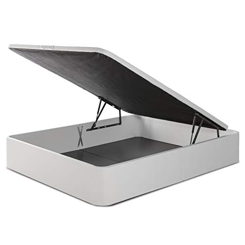 marckonfort Canapé abatible Space 150X190 tapizado con Piel sintética Blanco, Gran Capacidad 36 cm Altura Total y 29 cm Altura Interna