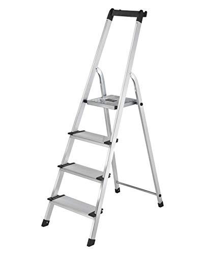 Leiter mit 4 Stufen und Ablage | 13 cm breite rutschsichere Aluminium XXL-Stufen | belastbar bis 150 kg | klappbare Alu Trittleiter