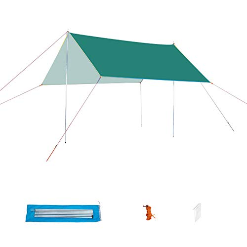 HSART Family Tent, Multi-Functional Camping Canopy Single-Layer Tent, 6-8 People Ultra-Light Awning Anti-Sun And Rainproof, Outdoor Picnic Fishing Beach