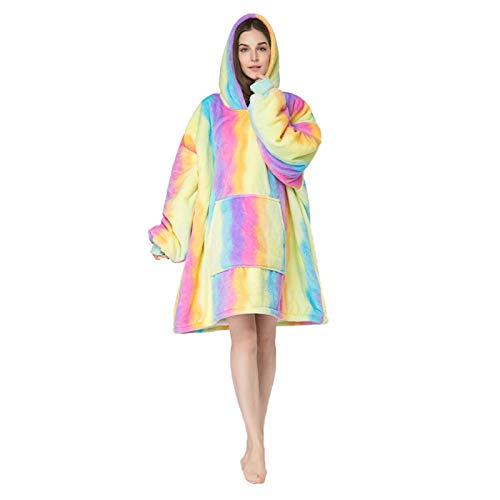 Manta Sudadera con Capucha, Tie Dye Calentita Grande Pullover Túnica, Manta de TV para Hombres, Mujeres,Multi Colored 2,One