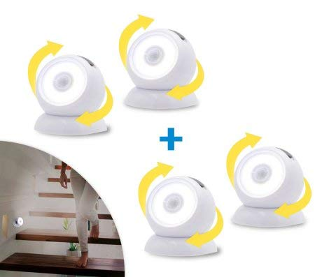 Mediashop Handylux Light-Ball LED Powerlicht- Ball - 360 Grad drehbar - magnetisch - Batterie-Leuchte   Taschenlampe - Bewegungssensor - Nachtlicht - Safe Touch Oberfläche - 4 Stück - 10