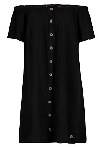 Eight2Nine Damen Offshoulder Sommer-Kleid mit Knopfleiste Black M